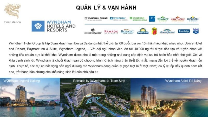 WYNDHAM HOTELS AND RESORTS là tập đoàn quản lý và vận hành resort cao cấp hàng đầu thế giới