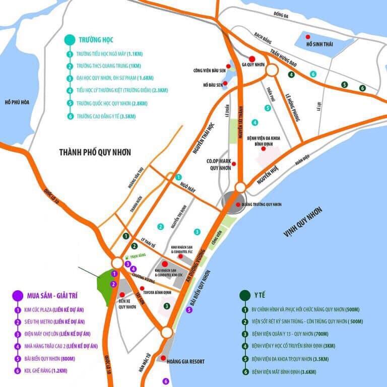 Liên kết vùng của dự án Condotel Hưng Thịnh Quy Nhơn