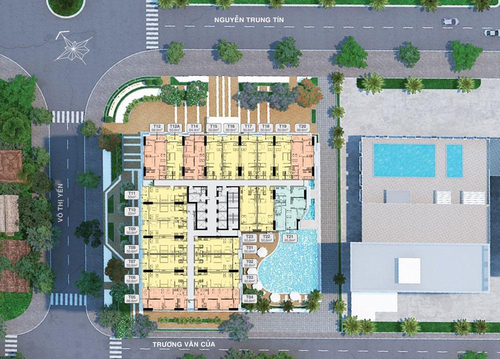 Mặt bằng tầng điển hình dự án căn hộ du lịch Quy Nhơn Melody