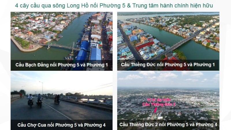 4 cầy cầu nối phường 5, vị trí Vĩnh Long New Town với trung tâm thành phố Vĩnh Long