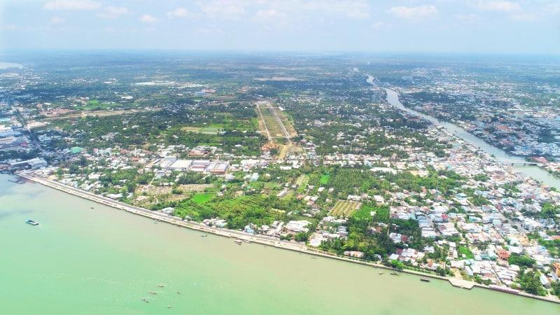 Tổng thể phường 5 thị xã Vĩnh Long nhìn từ trên cao