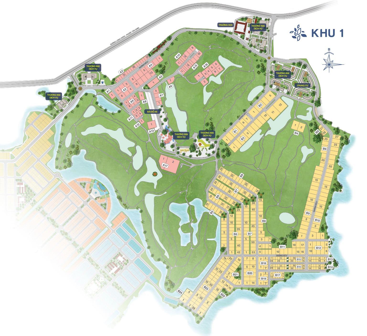 Mặt bằng Biên Hòa New City giai đoạn 2 - KHU 1