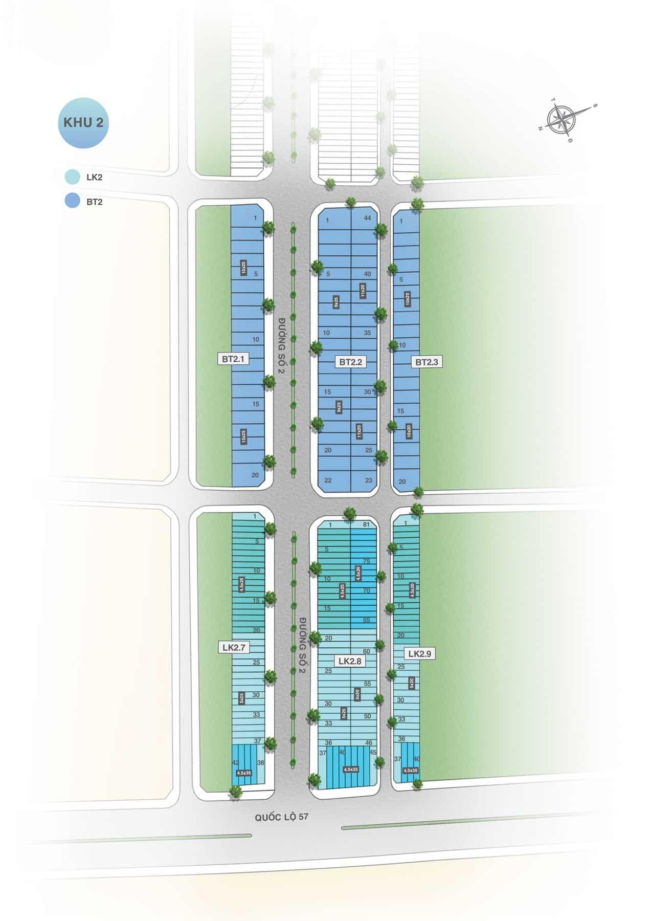 Mặt bằng dự án Hưng Thịnh Vĩnh Long khu 2B