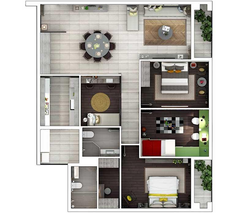 Phối cảnh 2D Căn hộ Hà Đô Centrosa 3 phòng ngủ
