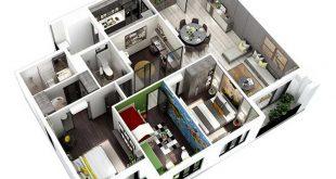 Phối cảnh 3D Căn hộ Hà Đô Centrosa 3 phòng ngủ