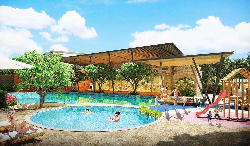Hồ bơi trung tâm bên trong dự án Saigon Universe