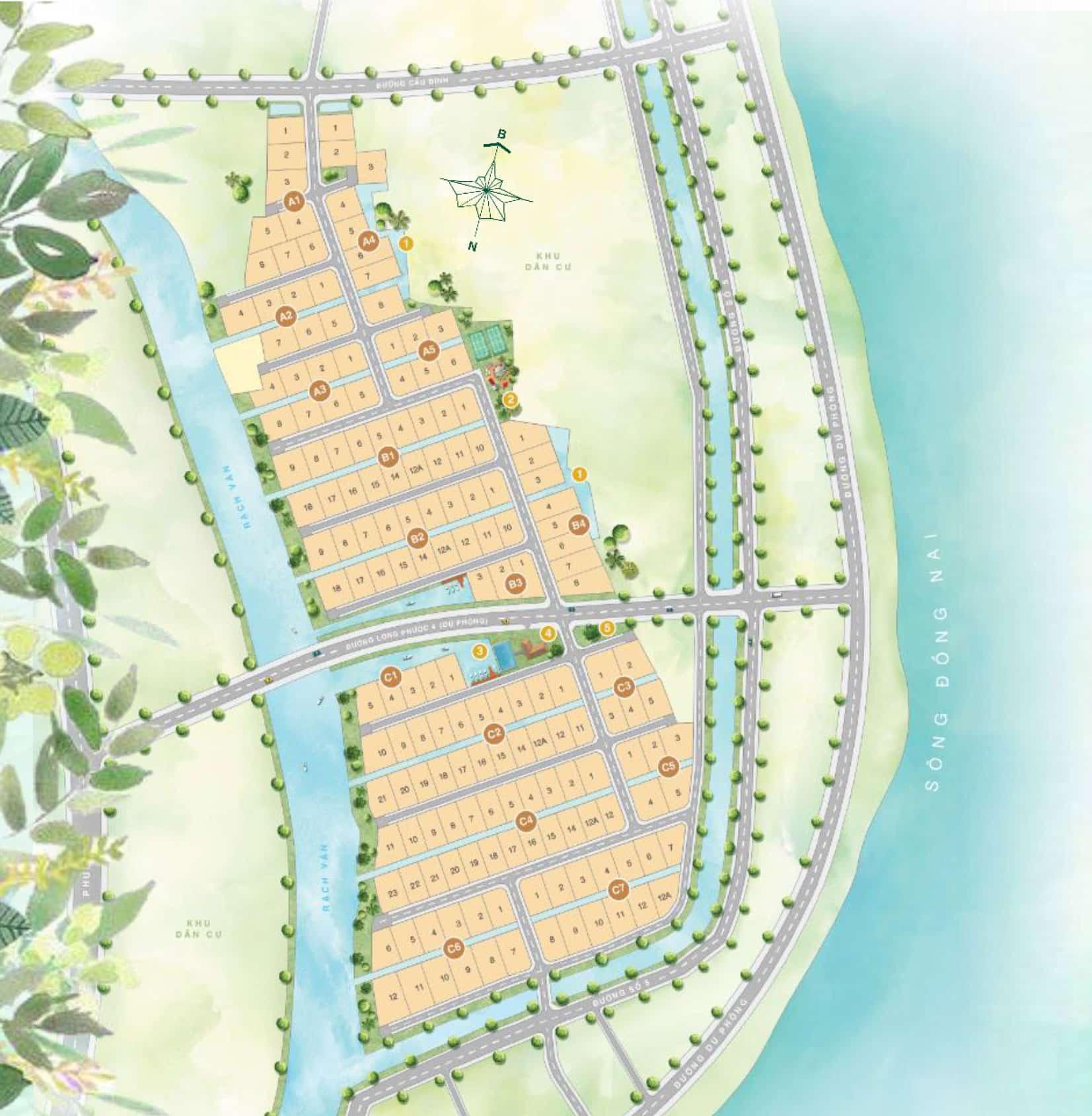 Mặt bằng dự án đất nền biệt thự vườn Hưng Thịnh - Saigon Garden Riverside Village