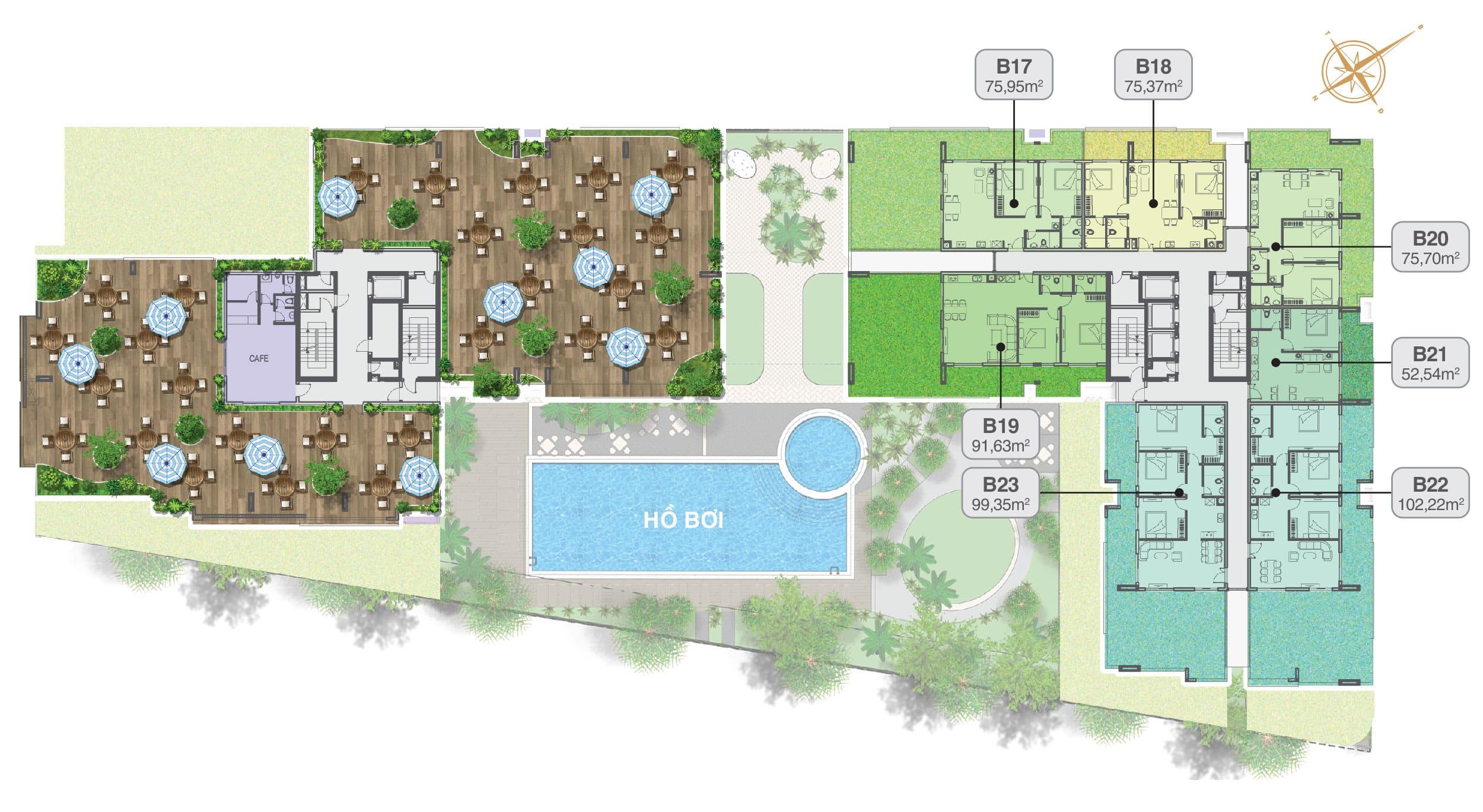 Mặt bằng Moonlight Residences tầng 21 sân vườn