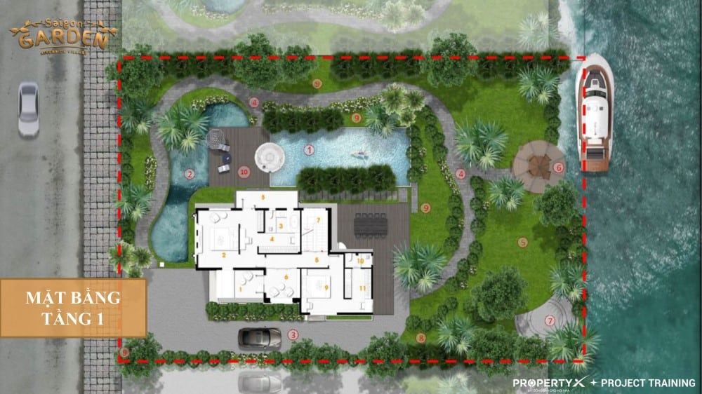 Mặt bằng tầng 1 mẫu 1 biệt thự vườn Hưng Thịnh