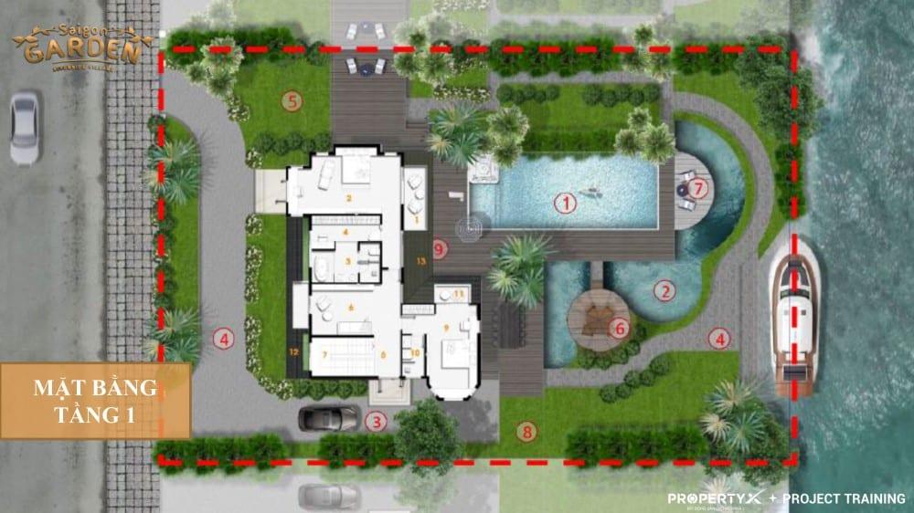Mặt bằng tầng 1 mẫu 2 biệt thự vườn Hưng Thịnh