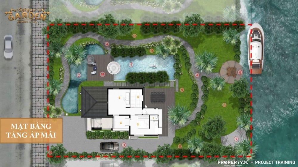 Mặt bằng tầng áp mái mẫu 1 biệt thự vườn Hưng Thịnh