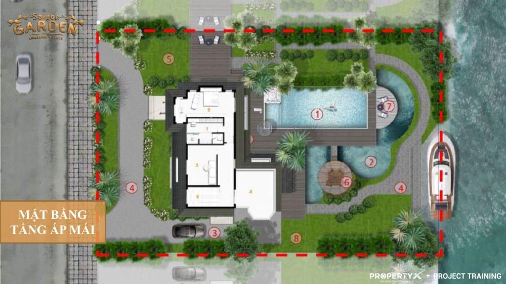 Mặt bằng tầng áp mái mẫu 2 biệt thự vườn Hưng Thịnh
