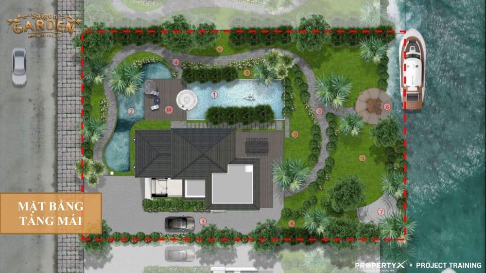 Mặt bằng tầng mái mẫu 1 biệt thự vườn Hưng Thịnh