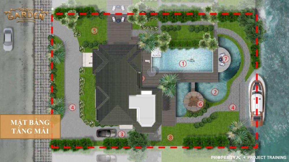 Mặt bằng tầng mái mẫu 2 biệt thự vườn Hưng Thịnh