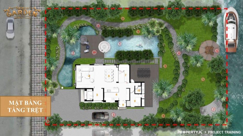 Mặt bằng tầng trệt mẫu 1 biệt thự vườn Hưng Thịnh