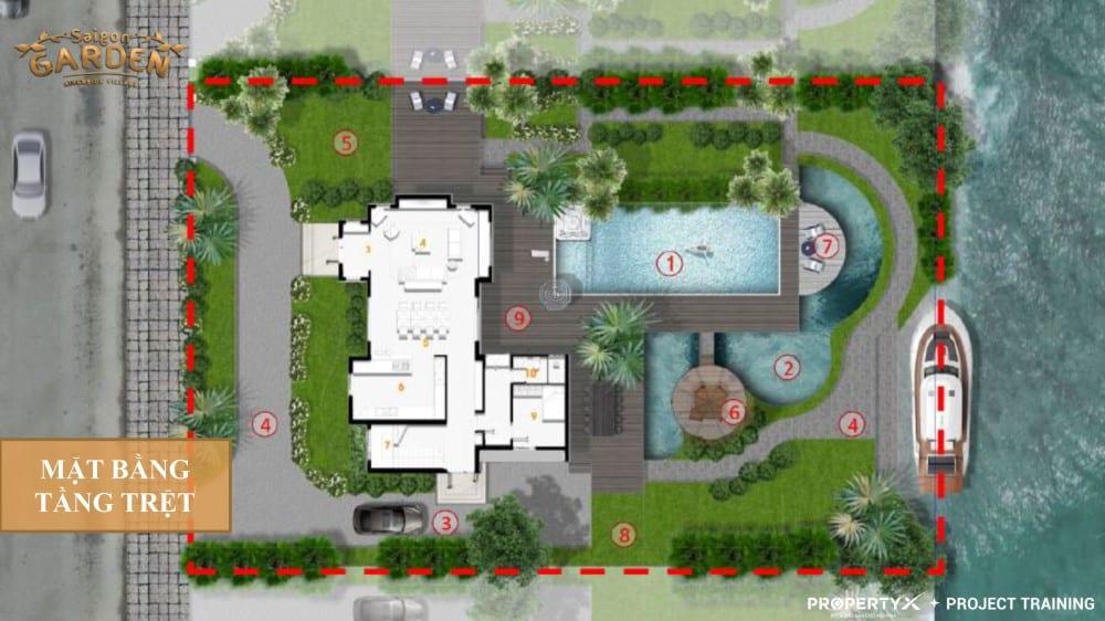 Mặt bằng tầng trệt mẫu 2 biệt thự vườn Hưng Thịnh