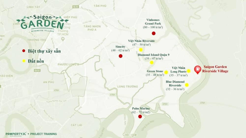 Bảng so sánh giá đất nền biệt thự vườn quận 9 Hưng Thịnh (Saigon Garden Riverside Village) với các dự án khác trong khu vực