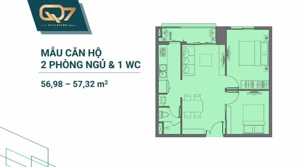 Thiết kế căn 57m2