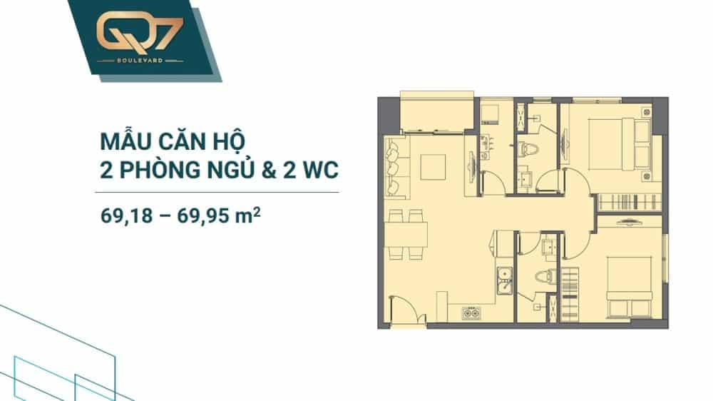 Thiết kế căn 2 PN + 2WC mẫu 1
