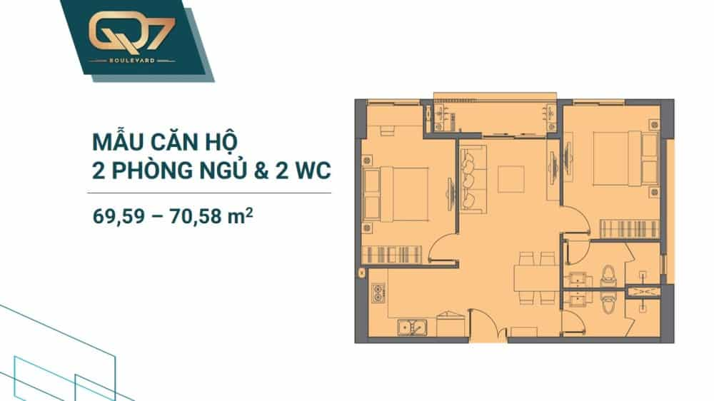 Thiết kế căn 2 PN + 2WC mẫu 2