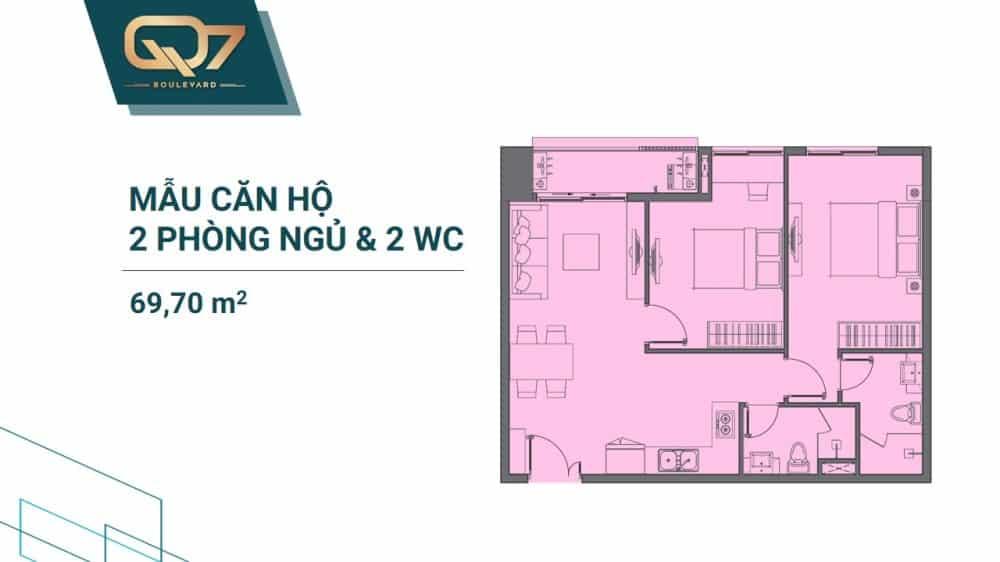Thiết kế căn 2 PN + 2WC