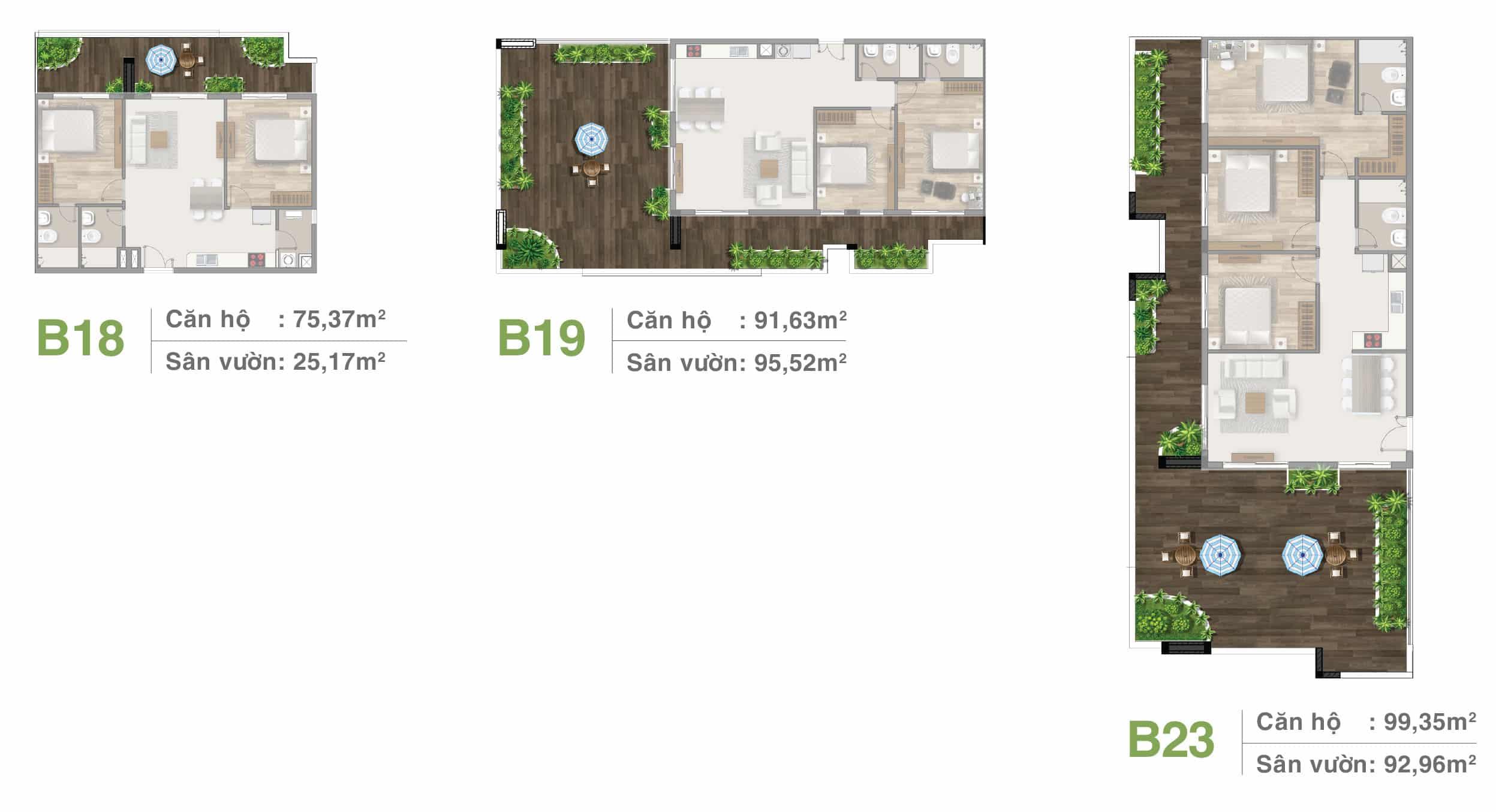 Thiết kế căn hộ sân vườn tầng 21