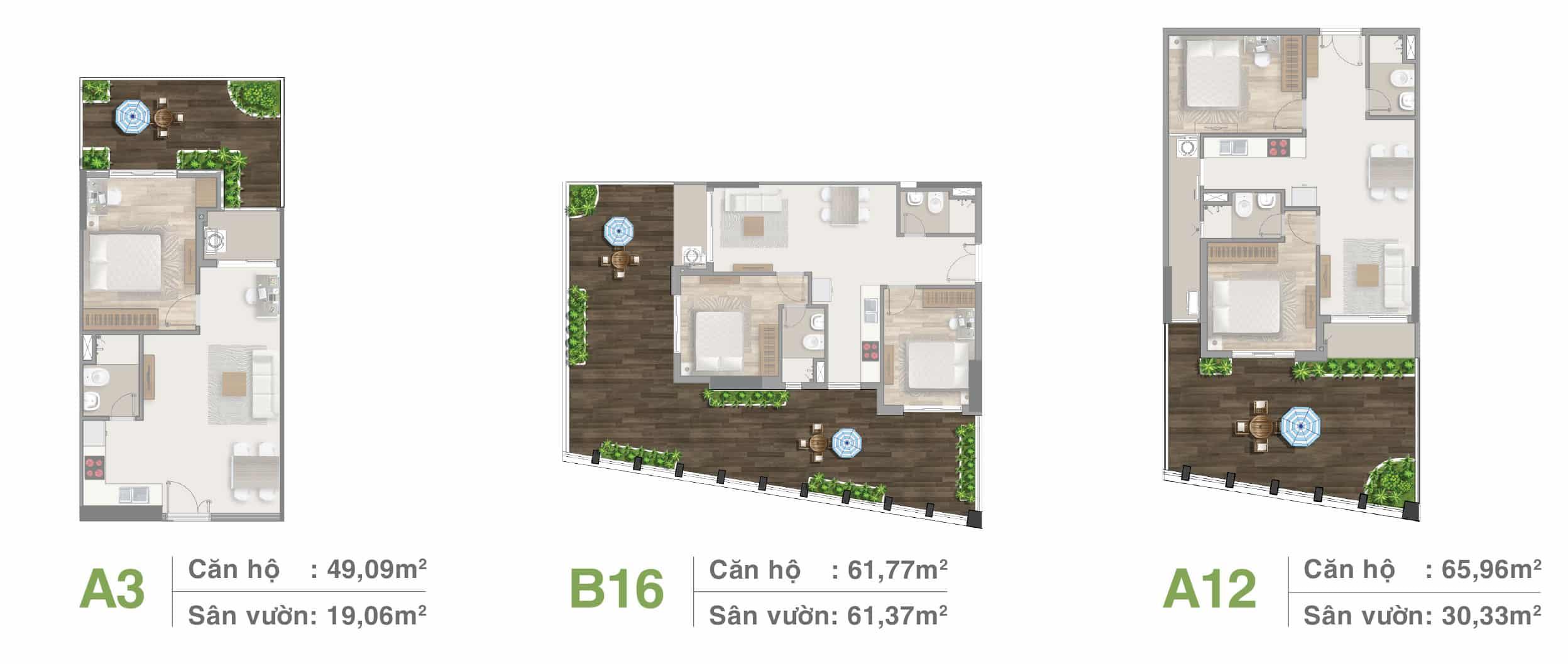 Thiết kế căn hộ sân vườn tầng 3