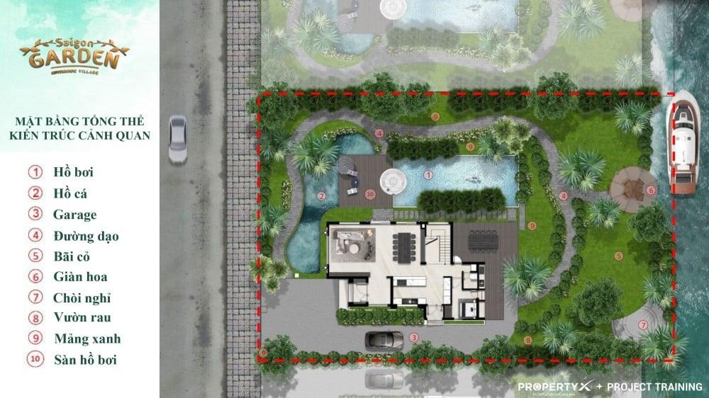 Thiết kế tổng thể mẫu 1 biệt thự vườn Hưng Thịnh