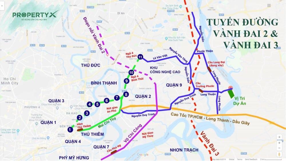 Dự án biệt thự vườn Hưng Thịnh quận 9 kết nối dễ dàng thông qua tuyến đường vành đai 2&3
