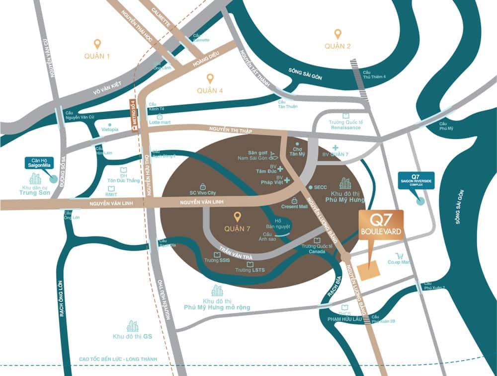 Căn hộ Q7 Boulevard nằm trên đường Nguyễn Lương Bằng, cách Phú Mỹ Hưng chỉ 200m