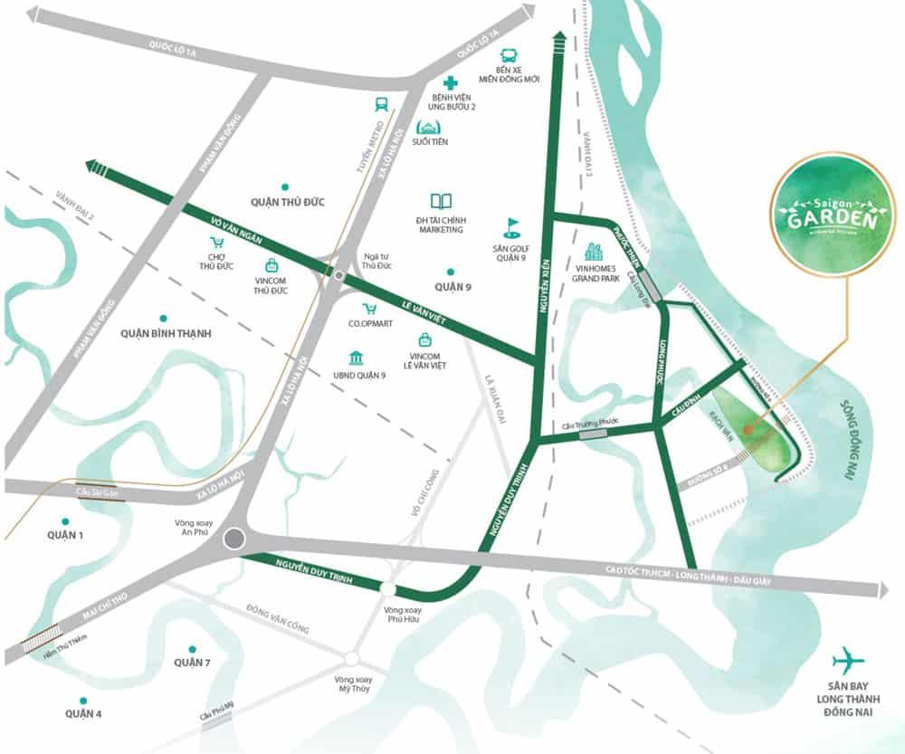 Vị trí dự án đất nền biệt thự vườn Hưng Thịnh - Saigon Garden Riverside Village