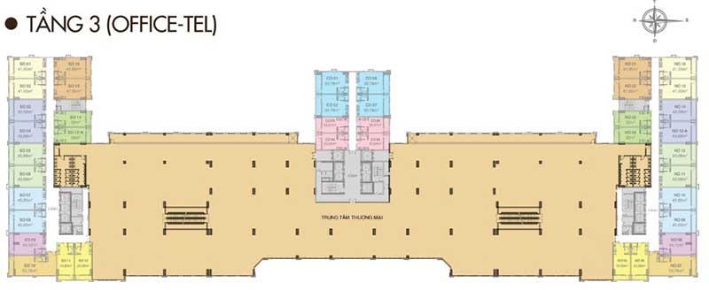 Mặt bằng Văn phòng tầng 3 – kết hợp thương mại