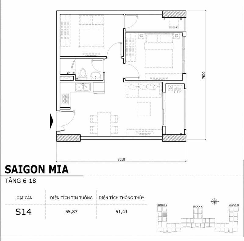 Mặt bằng Saigon Mia 1 phòng ngủ