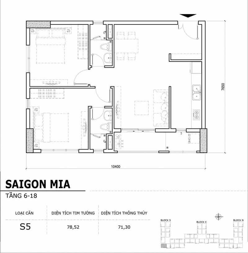 Mặt bằng căn hộ Saigon Mia 2 phòng ngủ