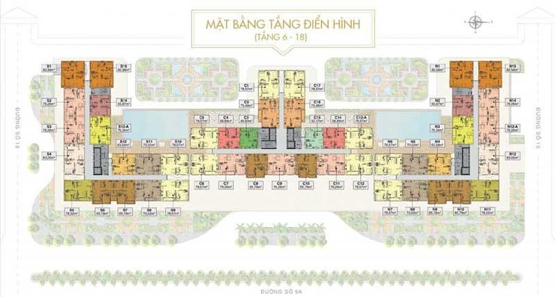 Mặt bằng điển hình căn hộ Saigon Mia