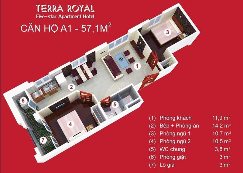 Mặt bằng Terra Royal 1 phòng ngủ