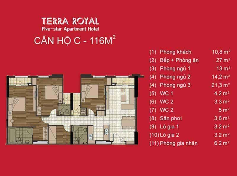 Mặt bằng 3 phòng ngủ Terra Royal
