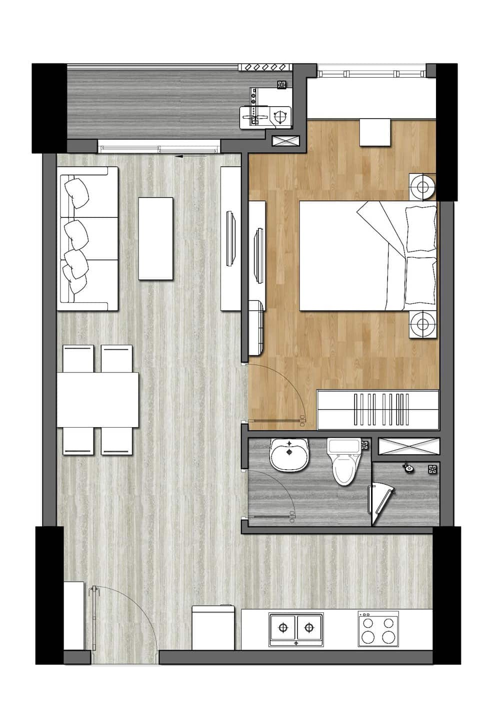 Bản vẽ thiết kế căn hộ 9X Next Gen 1 Phòng ngủ