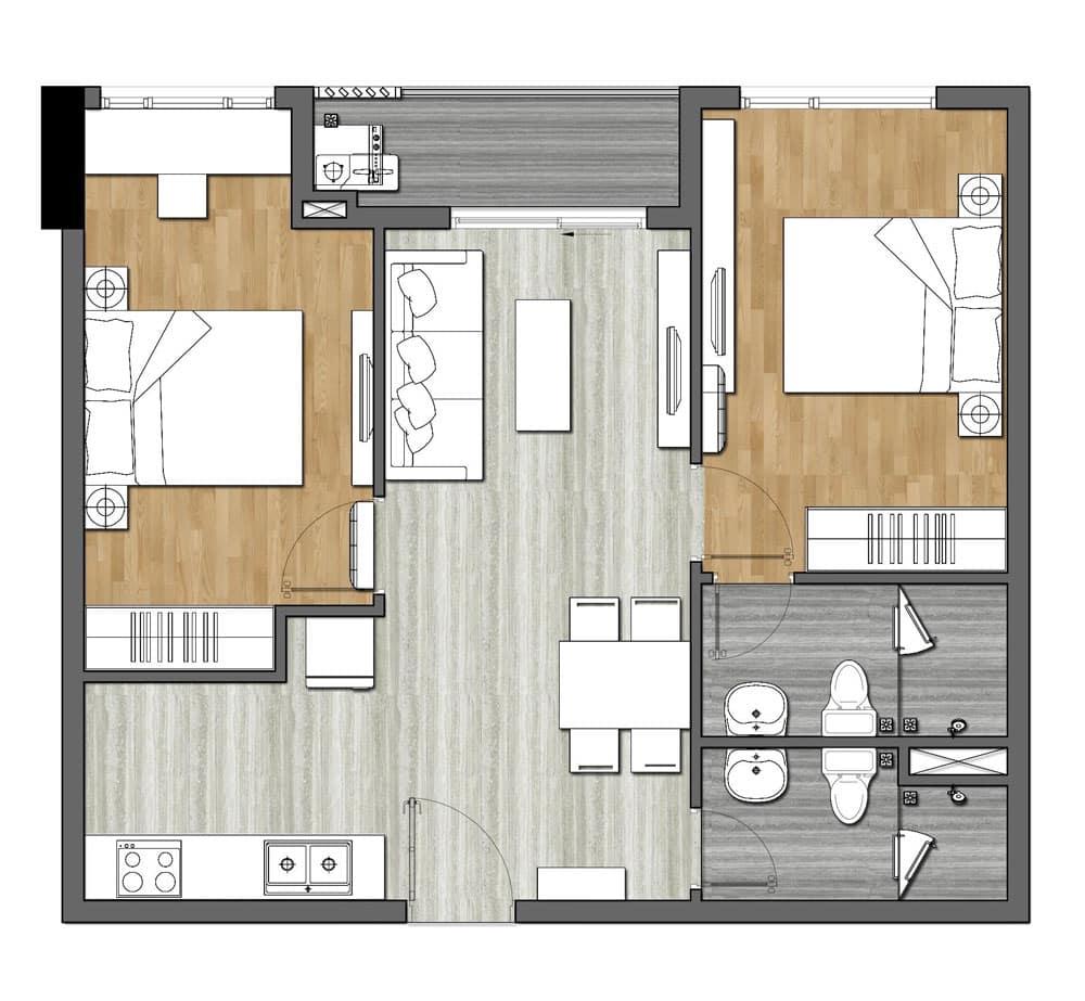Bản vẽ thiết kế căn hộ 9X Next Gen 2 Phòng ngủ
