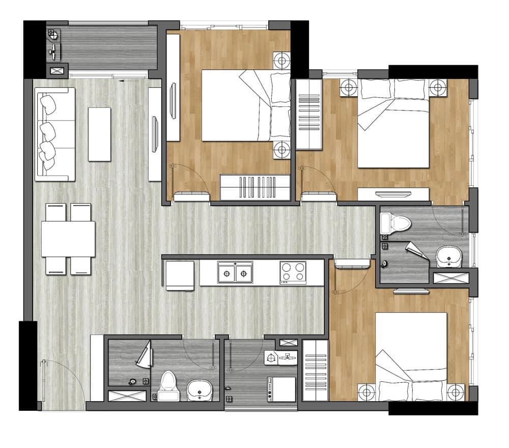 Bản vẽ thiết kế căn hộ 9X Next Gen 3 Phòng ngủ