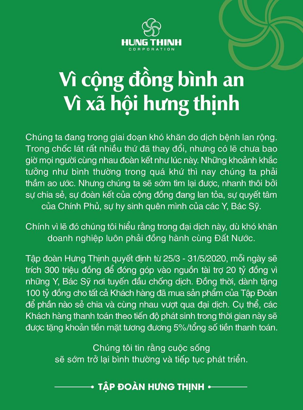 Hưng Thịnh Corp hỗ trợ khách hàng 100 tỷ và 20 tỷ cho đội ngũ Y Bác Sỹ tuyến đầu chống dịch