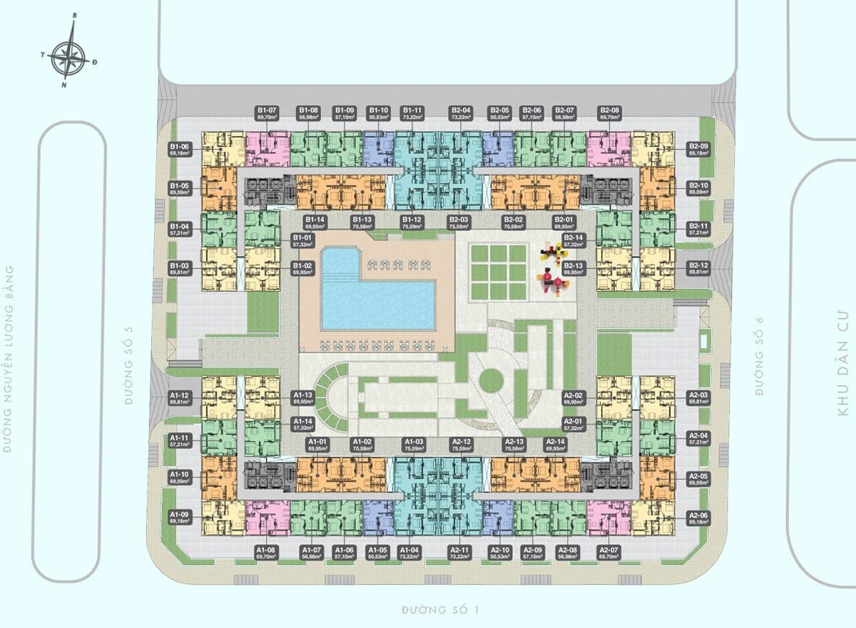 Mặt bằng căn hộ tầng điển hình 5-22
