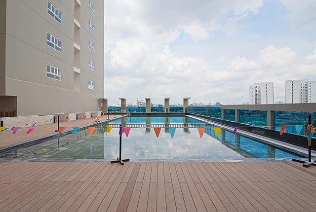 Hình ảnh hồ bơi đã được hoàn thiện
