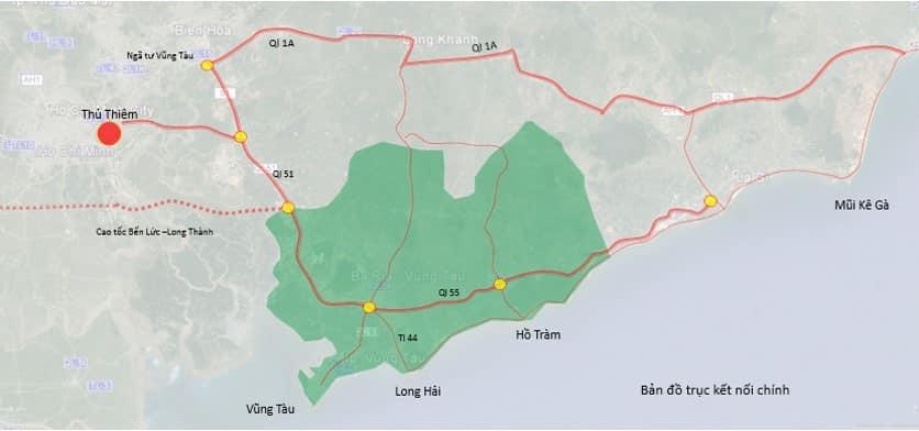 Bản đồ các trục đường chính kết nối Hồ Tràm Complex