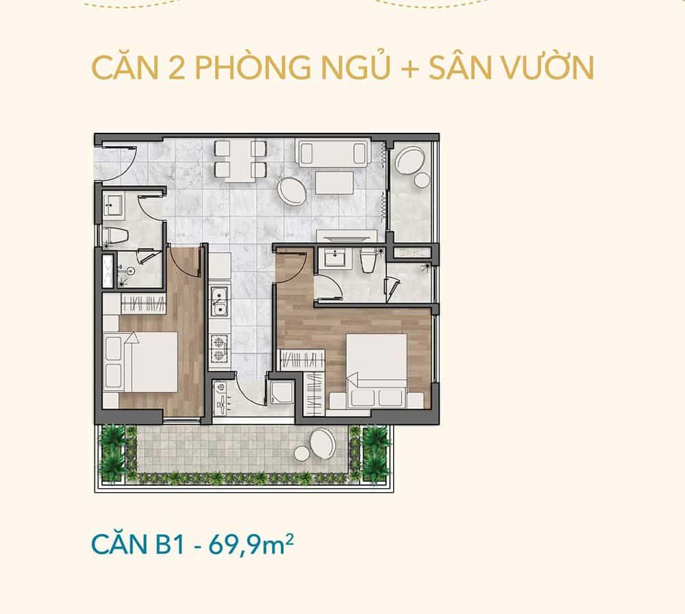 Căn 2PN + Sân vườn