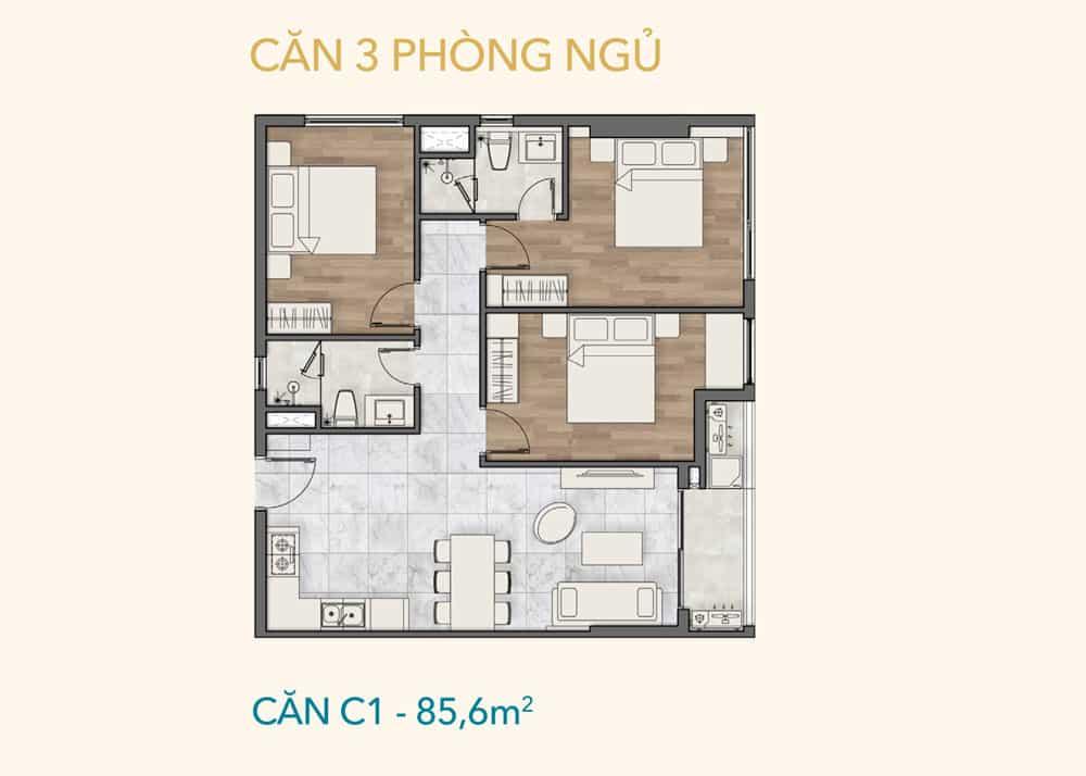 Chi tiết thiết kế căn 3 PN