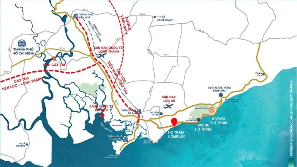 Các tiện ích kết nối dự án Hồ Tràm Complex với các khu vực lân cận
