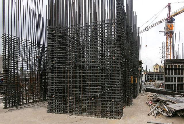 Thi công cốt thép vách thang máy Block A dự án Charm Thủ Đức