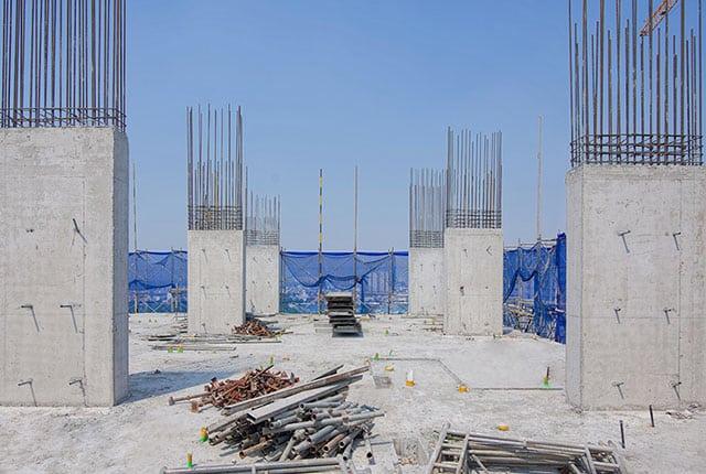 Hoàn thành đổ bê tông cột tầng 16 Block A2