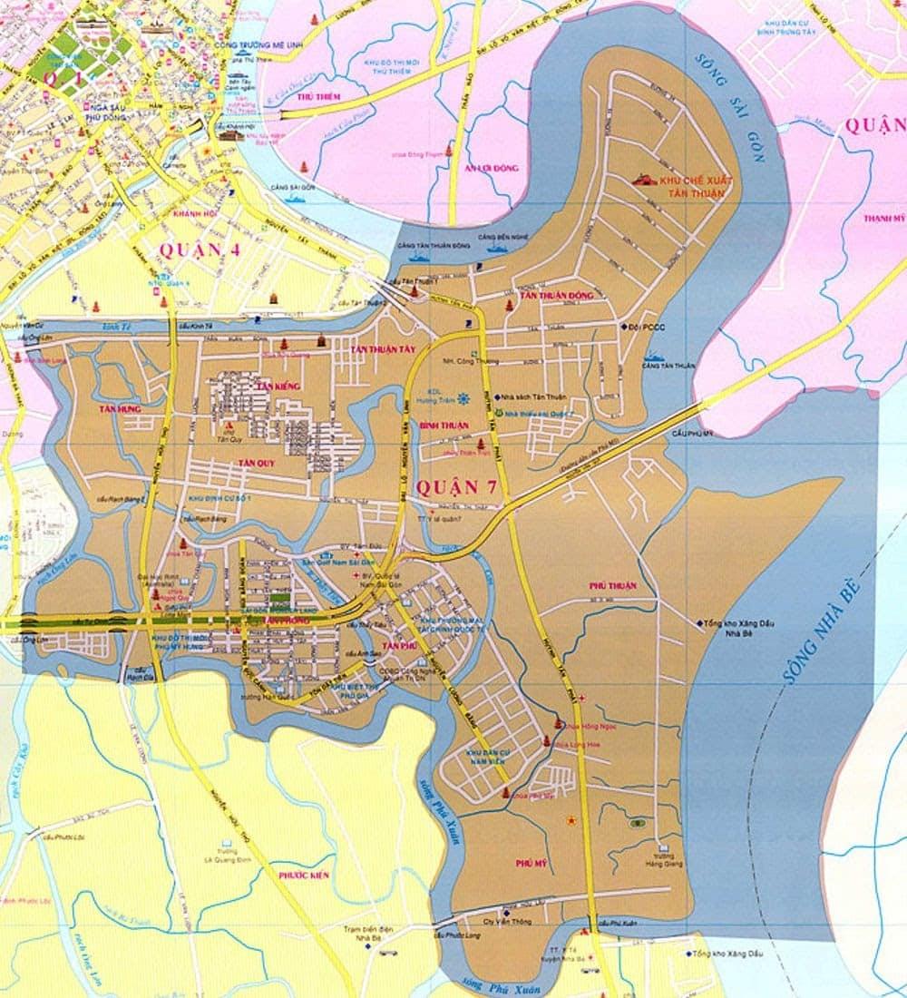 Vị trí địa lý khu vực cho thuê căn hộ quận 7